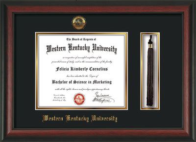 Image of Western Kentucky University Diploma Frame - Rosewood - w/Embossed WKU Seal & Name - Tassel Holder - Black on Gold mat