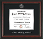 Image of Western Kentucky University Diploma Frame - Rosewood - w/Silver Embossed WKU Seal & Name - Black on Silver mat