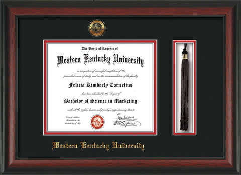 Image of Western Kentucky University Diploma Frame - Rosewood - w/Embossed WKU Seal & Name - Tassel Holder - Black on Red mat