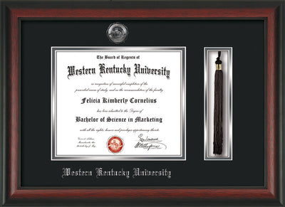 Image of Western Kentucky University Diploma Frame - Rosewood - w/Silver Embossed WKU Seal & Name - Tassel Holder - Black on Silver mat
