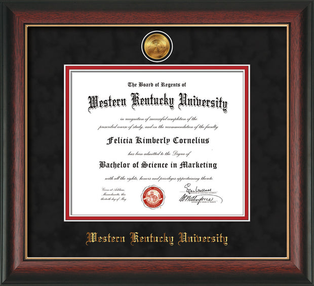 Image of Western Kentucky University Diploma Frame - Rosewood w/Gold Lip - w/24k Gold Plated Medallion WKU Name Embossing - Black Suede on Red Mat