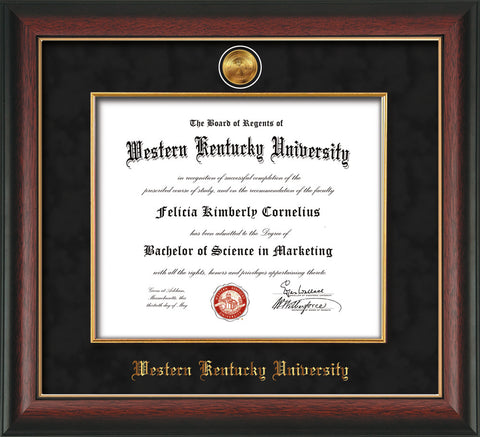 Image of Western Kentucky University Diploma Frame - Rosewood w/Gold Lip - w/24k Gold-Plated Medallion & Fillet - w/WKU Name Embossing - Black Suede mat