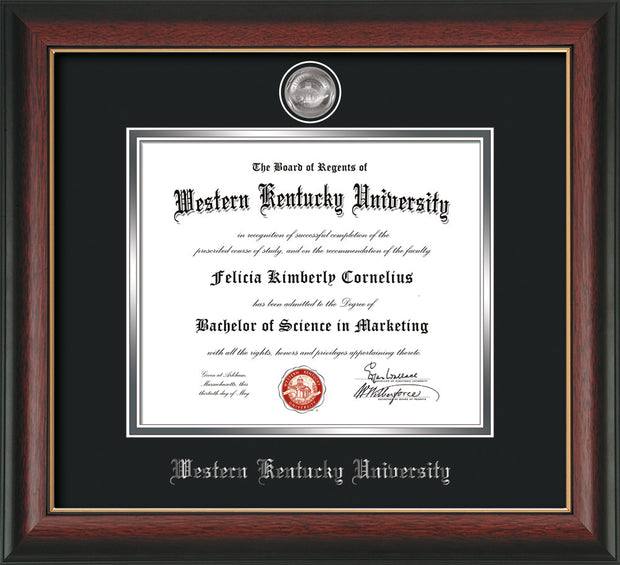 Image of Western Kentucky University Diploma Frame - Rosewood w/Gold Lip - w/Silver Plated Medallion WKU Name Embossing - Black on Silver Mat