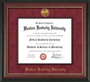 Image of Western Kentucky University Diploma Frame - Rosewood w/Gold Lip - w/24k Gold-Plated Medallion & Wood Stained Fillet - w/WKU Embossing - Garnet Suede