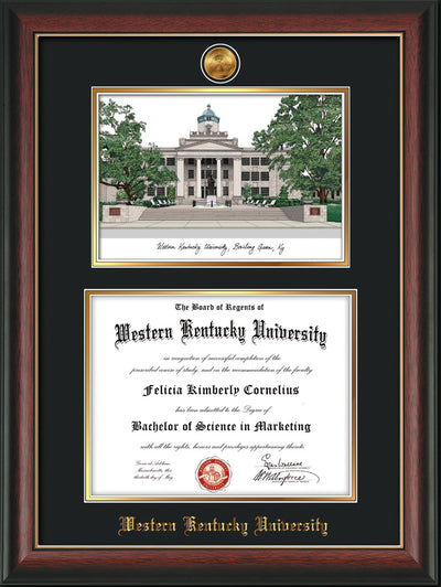 Image of Western Kentucky University Diploma Frame - Rosewood w/Gold Lip - w/24k Gold Plated Medallion WKU Name Embossing - w/Campus Watercolor - Black on Gold Mat