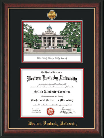 Image of Western Kentucky University Diploma Frame - Rosewood w/Gold Lip - w/24k Gold Plated Medallion WKU Name Embossing - w/Campus Watercolor - Black on Red Mat