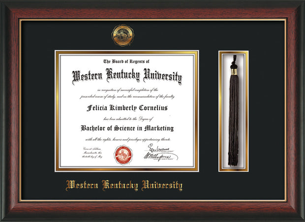 Image of Western Kentucky University Diploma Frame - Rosewood w/Gold Lip - w/Embossed WKU Seal & Name - Tassel Holder - Black on Gold mat