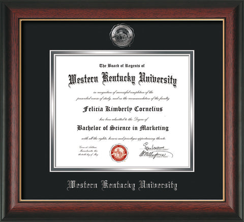Image of Western Kentucky University Diploma Frame - Rosewood w/Gold Lip - w/Silver Embossed WKU Seal & Name - Black on Silver mat