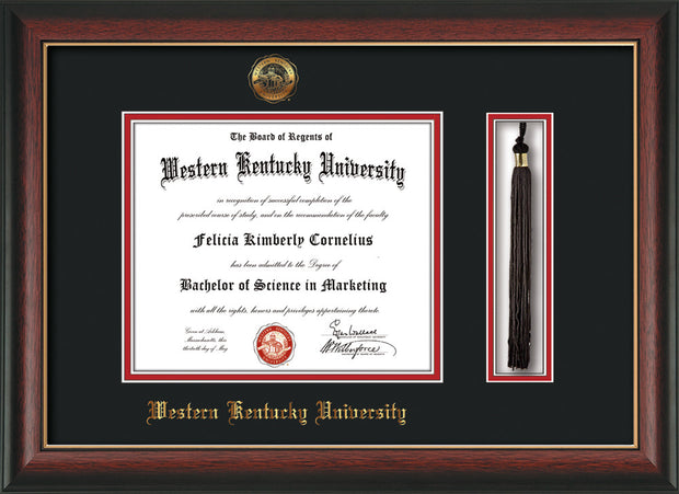 Image of Western Kentucky University Diploma Frame - Rosewood w/Gold Lip - w/Embossed WKU Seal & Name - Tassel Holder - Black on Red mat
