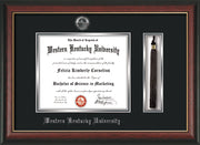 Image of Western Kentucky University Diploma Frame - Rosewood w/Gold Lip - w/Silver Embossed WKU Seal & Name - Tassel Holder - Black on Silver mat