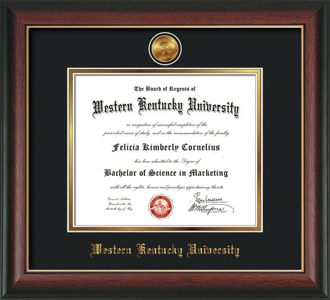 Image of Western Kentucky University Diploma Frame - Rosewood w/Gold Lip - w/24k Gold Plated Medallion WKU Name Embossing - Black on Gold Mat