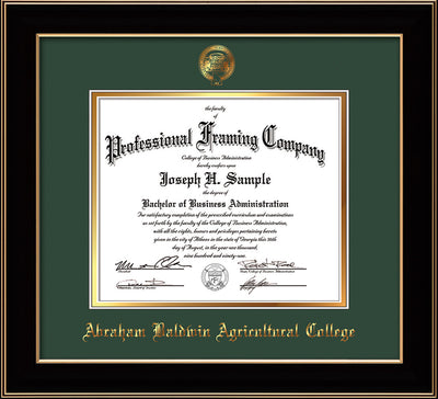 Image of Abraham Baldwin Agricultural College Diploma Frame - Black Lacquer - w/Embossed ABAC Seal & Name - Green on Gold mat
