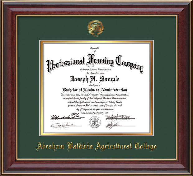Image of Abraham Baldwin Agricultural College Diploma Frame - Cherry Lacquer - w/Embossed ABAC Seal & Name - Green on Gold mat