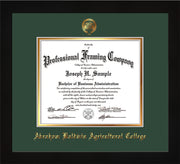 Image of Abraham Baldwin Agricultural College Diploma Frame - Flat Matte Black - w/Embossed ABAC Seal & Name - Green on Gold mat