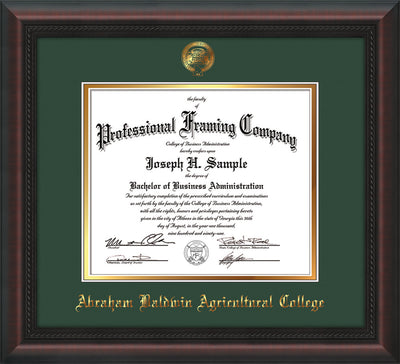 Image of Abraham Baldwin Agricultural College Diploma Frame - Mahogany Braid - w/Embossed ABAC Seal & Name - Green on Gold mat