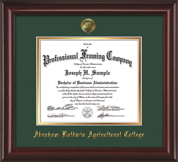 Image of Abraham Baldwin Agricultural College Diploma Frame - Mahogany Lacquer - w/Embossed ABAC Seal & Name - Green on Gold mat