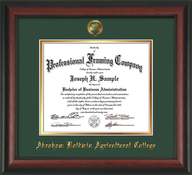 Image of Abraham Baldwin Agricultural College Diploma Frame - Rosewood - w/Embossed ABAC Seal & Name - Green on Gold mat
