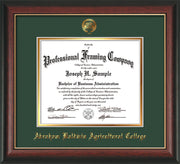 Image of Abraham Baldwin Agricultural College Diploma Frame - Rosewood w/Gold Lip - w/Embossed ABAC Seal & Name - Green on Gold mat