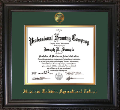 Image of Abraham Baldwin Agricultural College Diploma Frame - Vintage Black Scoop - w/Embossed ABAC Seal & Name - Green on Gold mat
