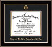 Image of Abraham Baldwin Agricultural College Diploma Frame - Black Lacquer - w/Embossed ABAC Seal & Name - Black on Gold mat