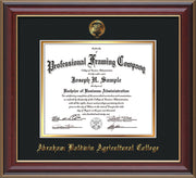 Image of Abraham Baldwin Agricultural College Diploma Frame - Cherry Lacquer - w/Embossed ABAC Seal & Name - Black on Gold mat