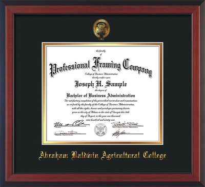 Image of Abraham Baldwin Agricultural College Diploma Frame - Cherry Reverse - w/Embossed ABAC Seal & Name - Black on Gold mat