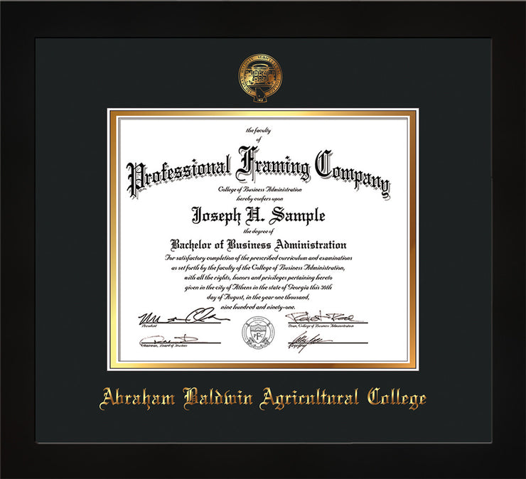 Image of Abraham Baldwin Agricultural College Diploma Frame - Flat Matte Black - w/Embossed ABAC Seal & Name - Black on Gold mat
