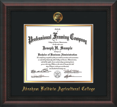 Image of Abraham Baldwin Agricultural College Diploma Frame - Mahogany Braid - w/Embossed ABAC Seal & Name - Black on Gold mat