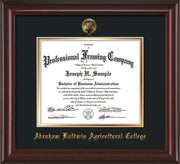 Image of Abraham Baldwin Agricultural College Diploma Frame - Mahogany Lacquer - w/Embossed ABAC Seal & Name - Black on Gold mat