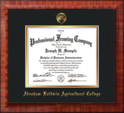 Image of Abraham Baldwin Agricultural College Diploma Frame - Mezzo Gloss - w/Embossed ABAC Seal & Name - Black on Gold mat