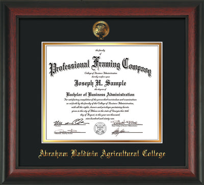 Image of Abraham Baldwin Agricultural College Diploma Frame - Rosewood - w/Embossed ABAC Seal & Name - Black on Gold mat