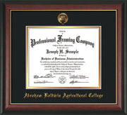 Image of Abraham Baldwin Agricultural College Diploma Frame - Rosewood w/Gold Lip - w/Embossed ABAC Seal & Name - Black on Gold mat