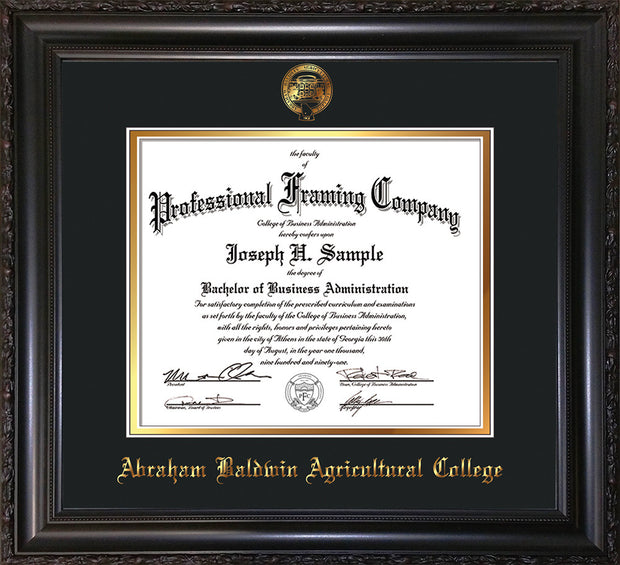 Image of Abraham Baldwin Agricultural College Diploma Frame - Vintage Black Scoop - w/Embossed ABAC Seal & Name - Black on Gold mat