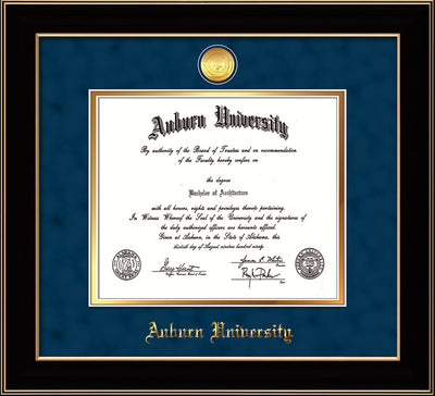 Image of Auburn University Diploma Frame - Black Lacquer - w/24k Gold-plated Medallion - Navy Suede on Gold mat