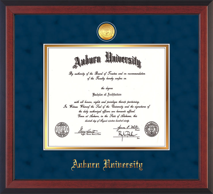 Image of Auburn University Diploma Frame - Cherry Reverse - w/24k Gold-plated Medallion - Navy Suede on Gold mat