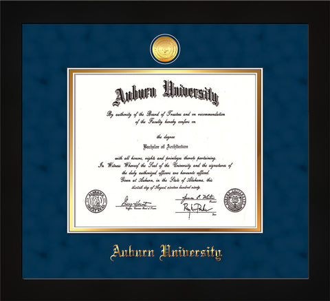 Image of Auburn University Diploma Frame - Flat Matte Black - w/24k Gold-plated Medallion - Navy Suede on Gold mat