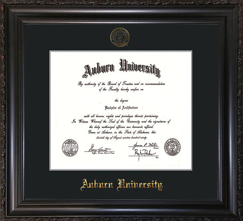 Image of Auburn University Diploma Frame - Vintage Black Scoop - w/Embossed Seal & Name - Single Black Mat