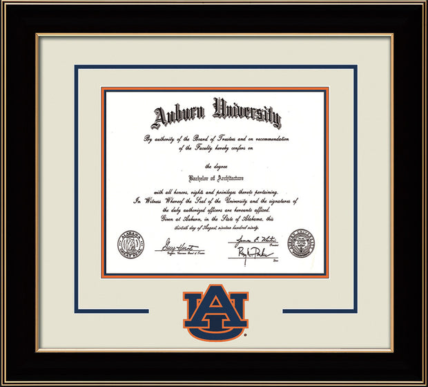 Image of Auburn University Diploma Frame - Black Lacquer - w/Laser AU Logo Cutout - Cream on Navy on Orange mat