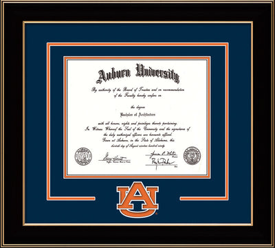 Image of Auburn University Diploma Frame - Black Lacquer - w/Laser AU Logo Cutout - Navy on Orange mat