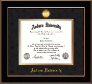 Image of Auburn University Diploma Frame - Black Lacquer - w/24k Gold-plated Medallion - Black Suede on Gold mat