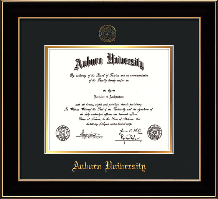 Image of Auburn University Diploma Frame - Black Lacquer - w/Embossed Seal & Name - Black on Gold mat