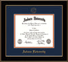 Image of Auburn University Diploma Frame - Black Lacquer - w/Embossed Seal & Name - Campus Watercolor - Navy on Orange mat