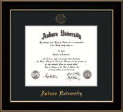 Auburn University Diploma Frame - Black Lacquer - w/Embossed Seal & Name - Single Black Mat