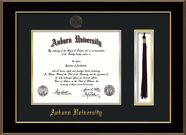 Image of Auburn University Diploma Frame - Black Lacquer - w/Embossed Seal & Name - Tassel Holder - Black on Gold mat