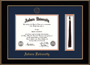 Image of Auburn University Diploma Frame - Black Lacquer - w/Embossed Seal & Name - Tassel Holder - Navy on Orange mat