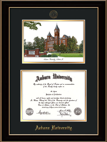 Image of Auburn University Diploma Frame - Black Lacquer - w/Embossed Seal & Name - Campus Watercolor - Black on Gold mat