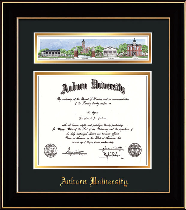 Image of Auburn University Diploma Frame - Black Lacquer - w/Embossed School Name Only - Campus Collage - Black on Gold mat