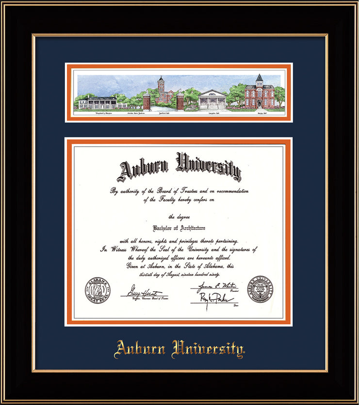 Image of Auburn University Diploma Frame - Black Lacquer - w/Embossed School Name Only - Campus Collage - Navy on Orange mat