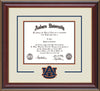 Image of the Auburn University Diploma Frame - Cherry Lacquer - w/Laser AU Logo Cutout - Cream on Navy on Orange mat