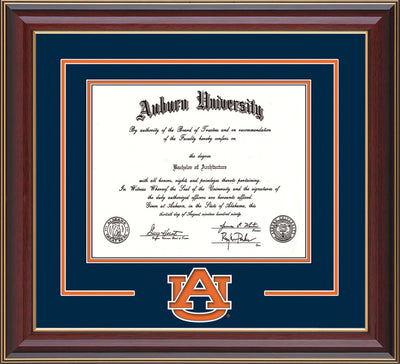 Image of the Auburn University Diploma Frame - Cherry Lacquer - w/Laser AU Logo Cutout - Navy on Orange mat